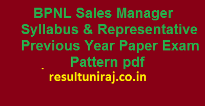 BPNL Sales Manager Syllabus & Representative Previous Year Paper Exam Pattern pdf