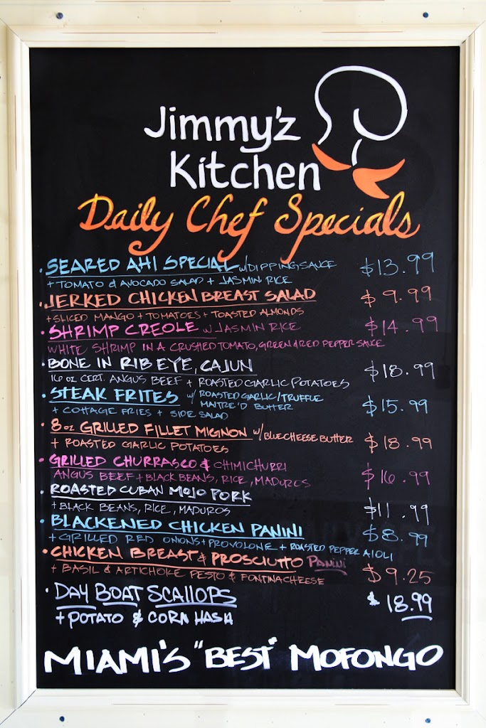 Jimmy'z Kitchen Menu Board