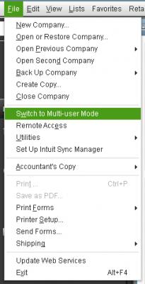 Quickbooks error 6073 : switch to multi user mode