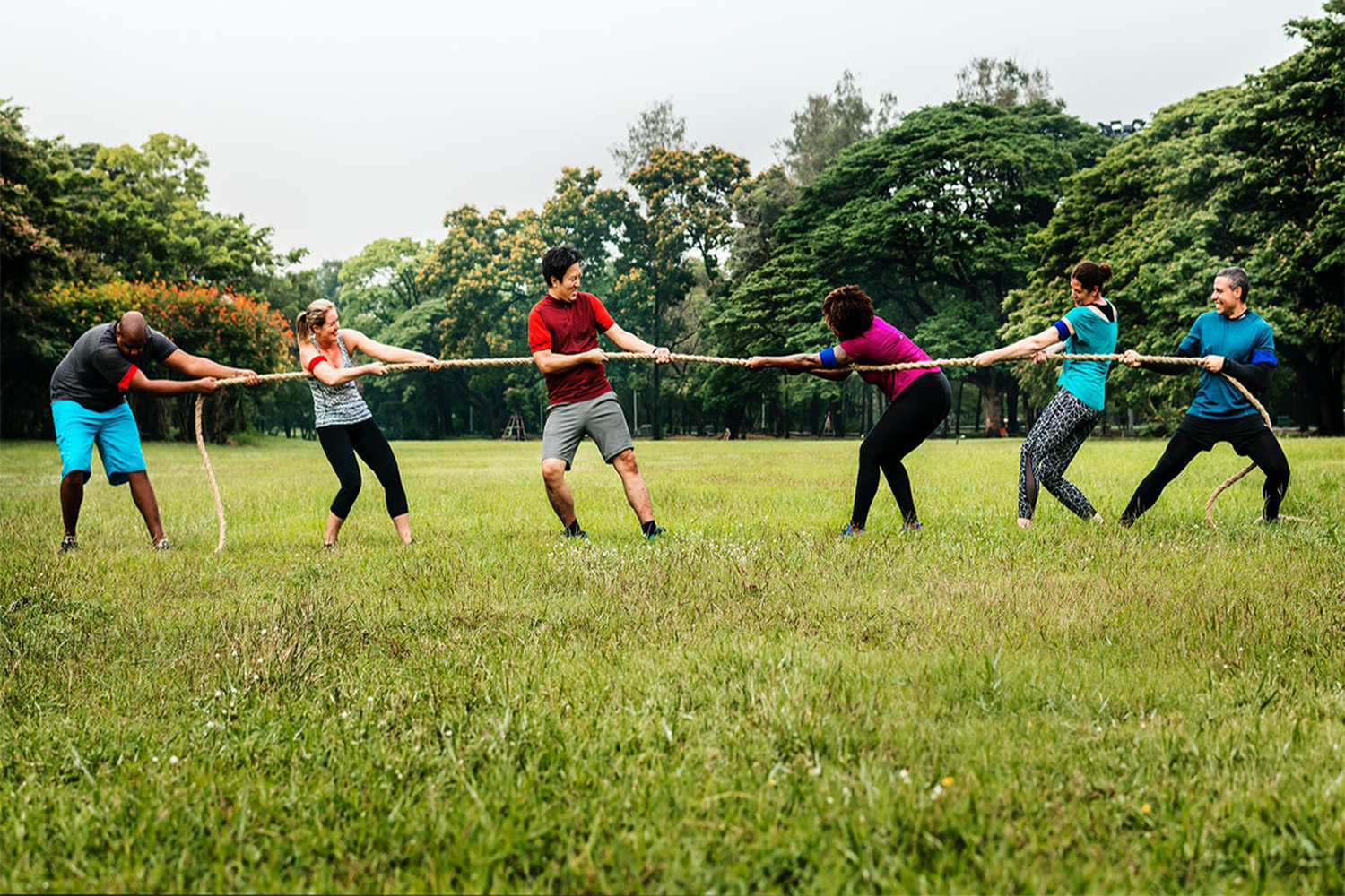 tug of war at a family reunion game