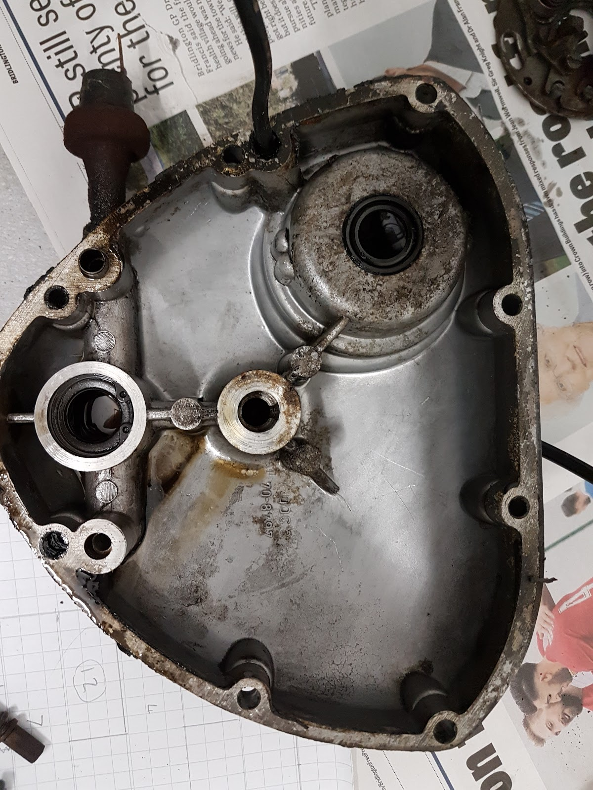 Inside the timing chest cover of a Triumph Bonneville T120.