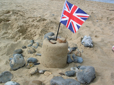 A Sandcastle with a Union Jack