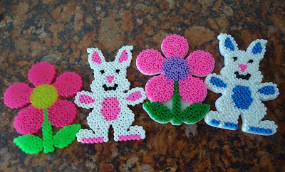 Hama Beads Bunnies and Flowers for Spring