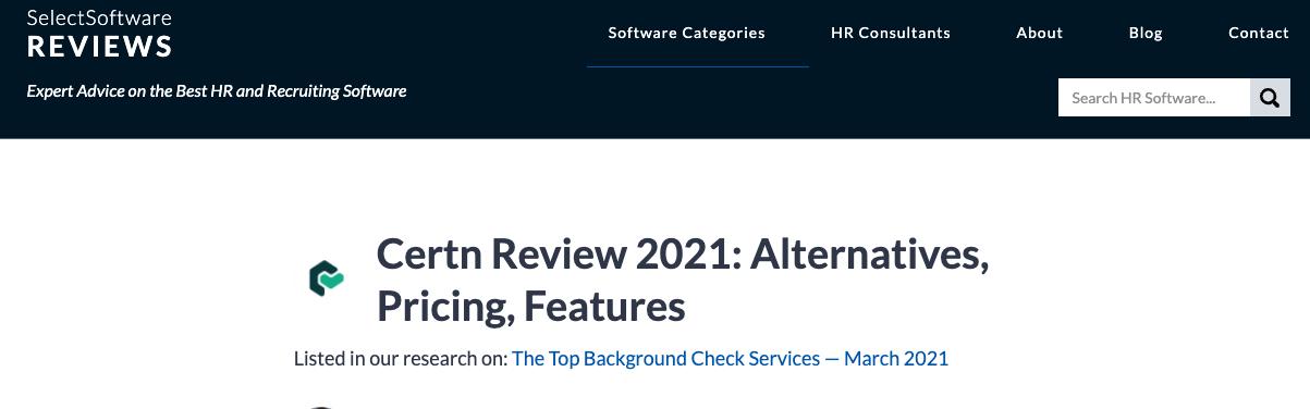Certn Review 2021: Alternatives, Pricing, Features. Article Screenshot.