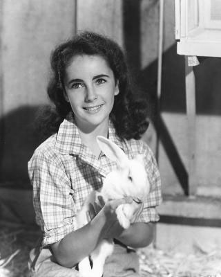adolescent Elizabeth Taylor with a rabbit
