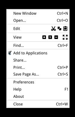 Epiphany - Simple menu button