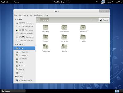 Fedora 15 classic Gnome3 desktop