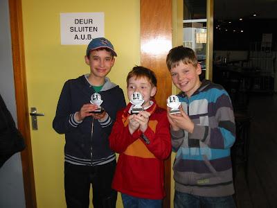 A-winnaars: vlnr Jason, Teun en Sytse