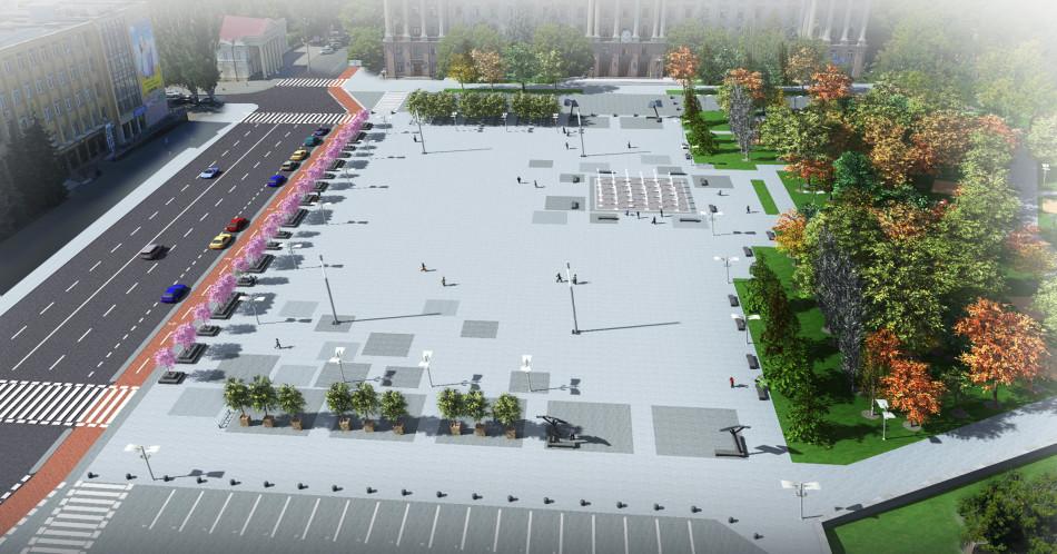 Первый вариант проекта Соборной площади.