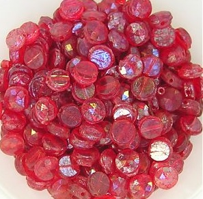 Vintage Czech Red Nail Head Beads