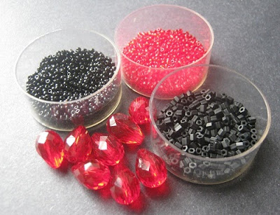 Jet Black and Ruby Red Bead Palette