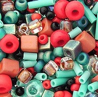 Turquoise and Coral Bead Mix from AuntiesBeads.com