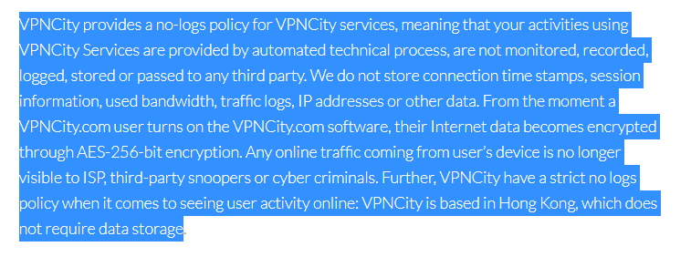 VPNCity Review 2021 - no logs policy