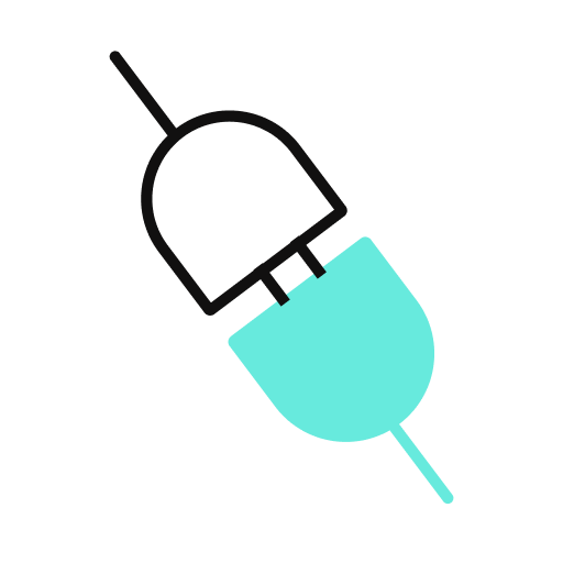 An icon of two plugs connecting with one another