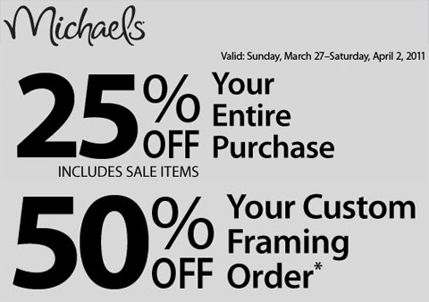 Michaels coupon march april 2011