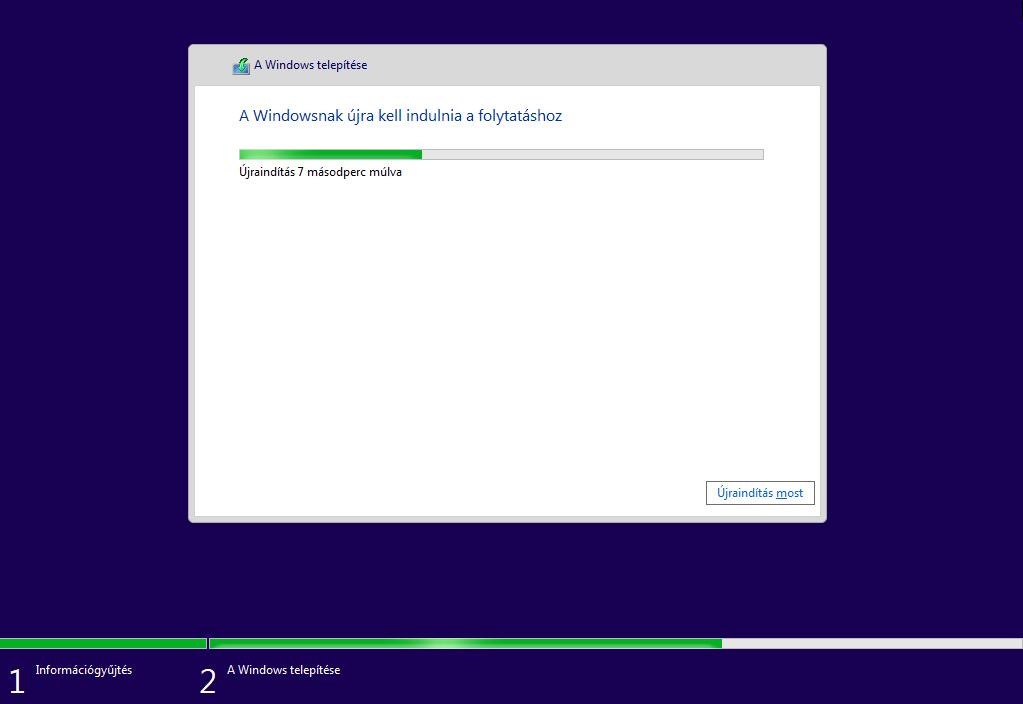 windows 10 telepítés befejeződése