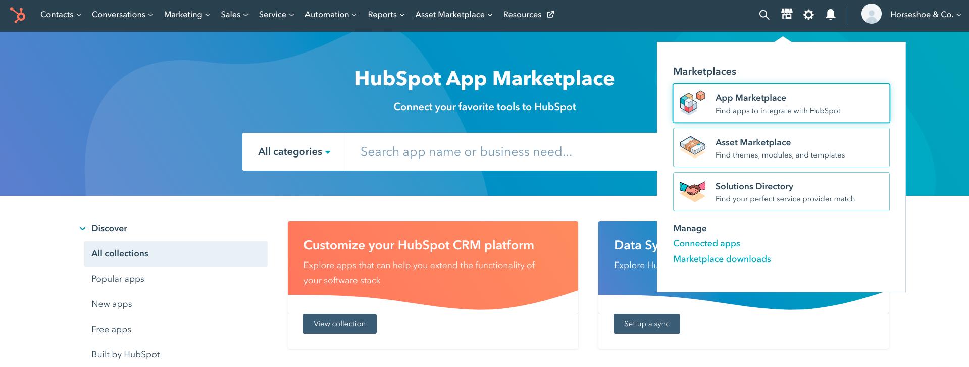 The HubSpot app marketplace