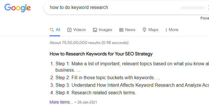 Google snippet over your keyword research and placement.