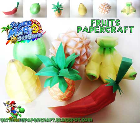 Super Mario Sunshine Papercraft Fruits