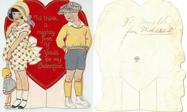 antique vintage valentine children boy girl heart sweet lovely old