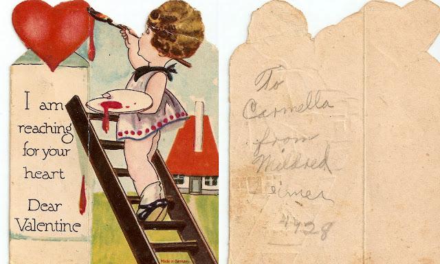 antique vintage old valentine grandma's girl paint ladder heart sweet