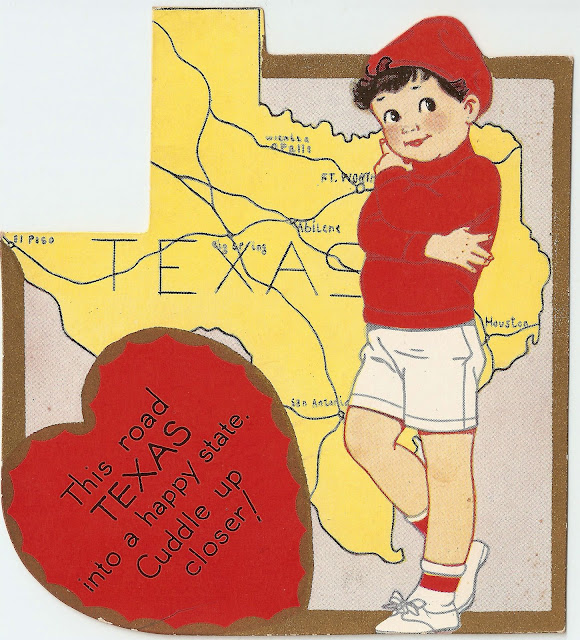 antique vintage Texas boy valentine