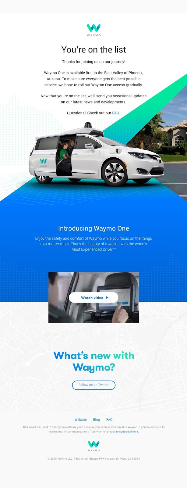 Waymo welcome email example