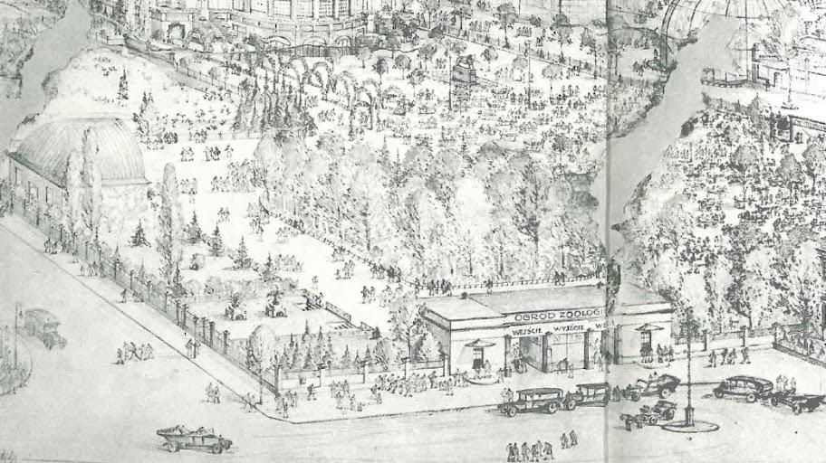 """Stare Zoo - rysunek z 1930 roku (na podstawie wewnętrznej okładki do książki """"Ogród Zoologiczny w Poznaniu - dzieje i perspektywy rozwoju"""")"""