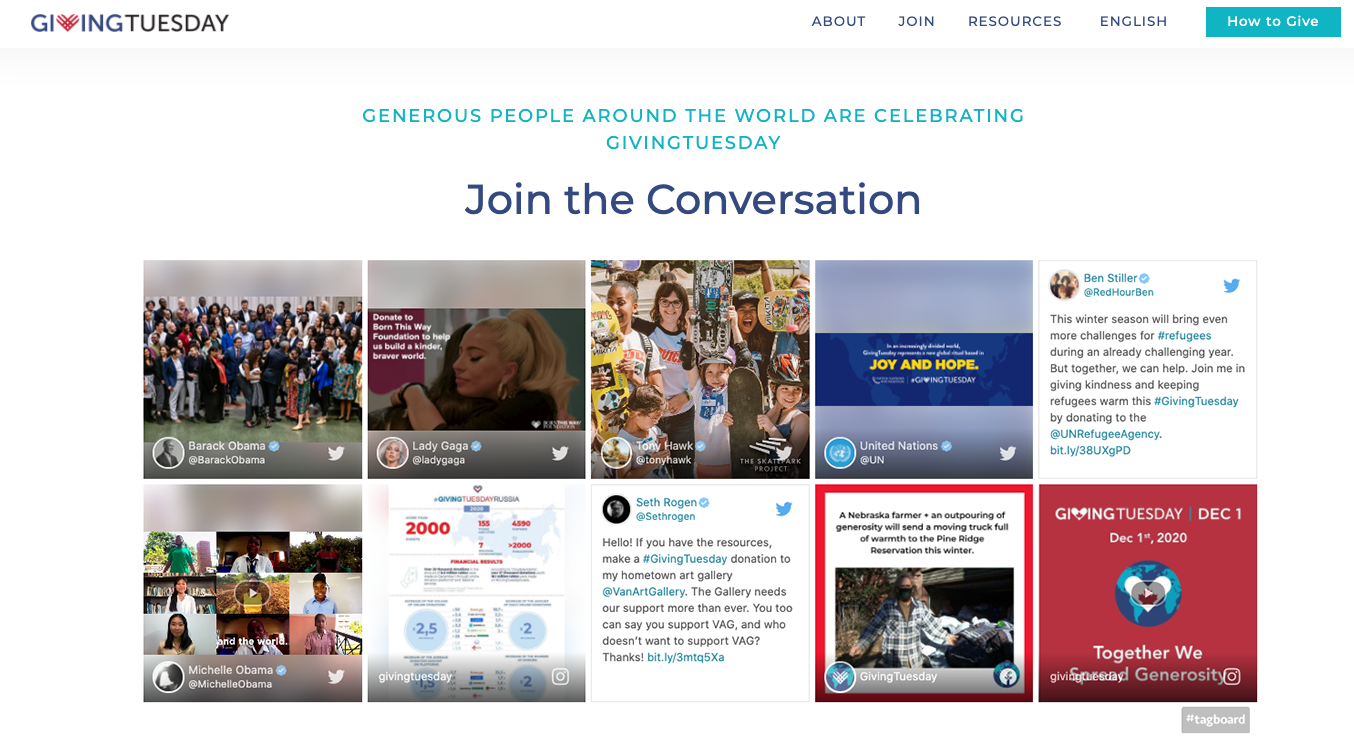 GivingTuesday Virtual HQ Website Social Display