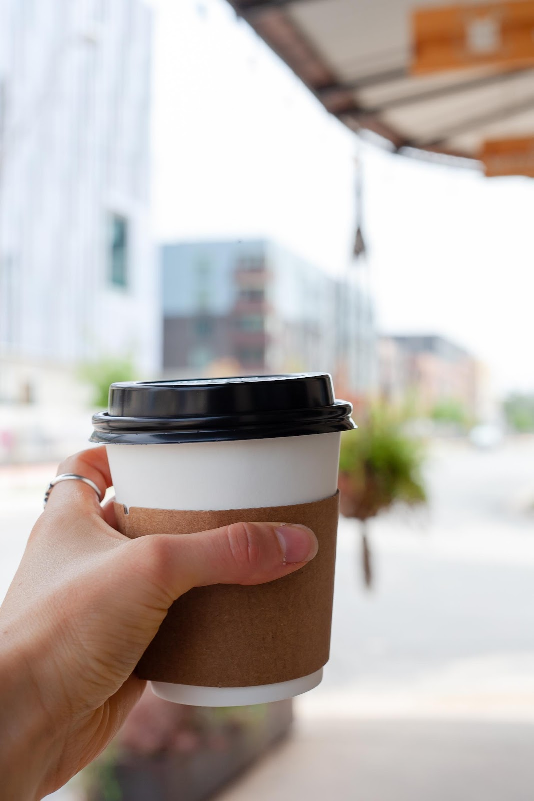 A hand holding a cup of coffee  Description automatically generated