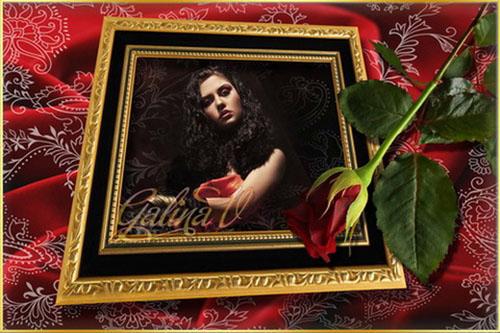 Стильная рамка - Фотография, роза и шёлк