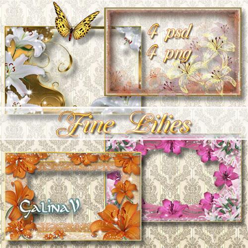 Набор цветочных фоторамок - Прекрасные лилии
