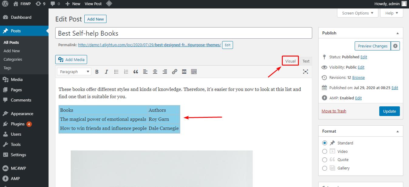 Code HTML hiển thị trong classic editor
