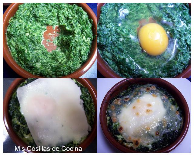 Cazuelitas de espinacas con huevo