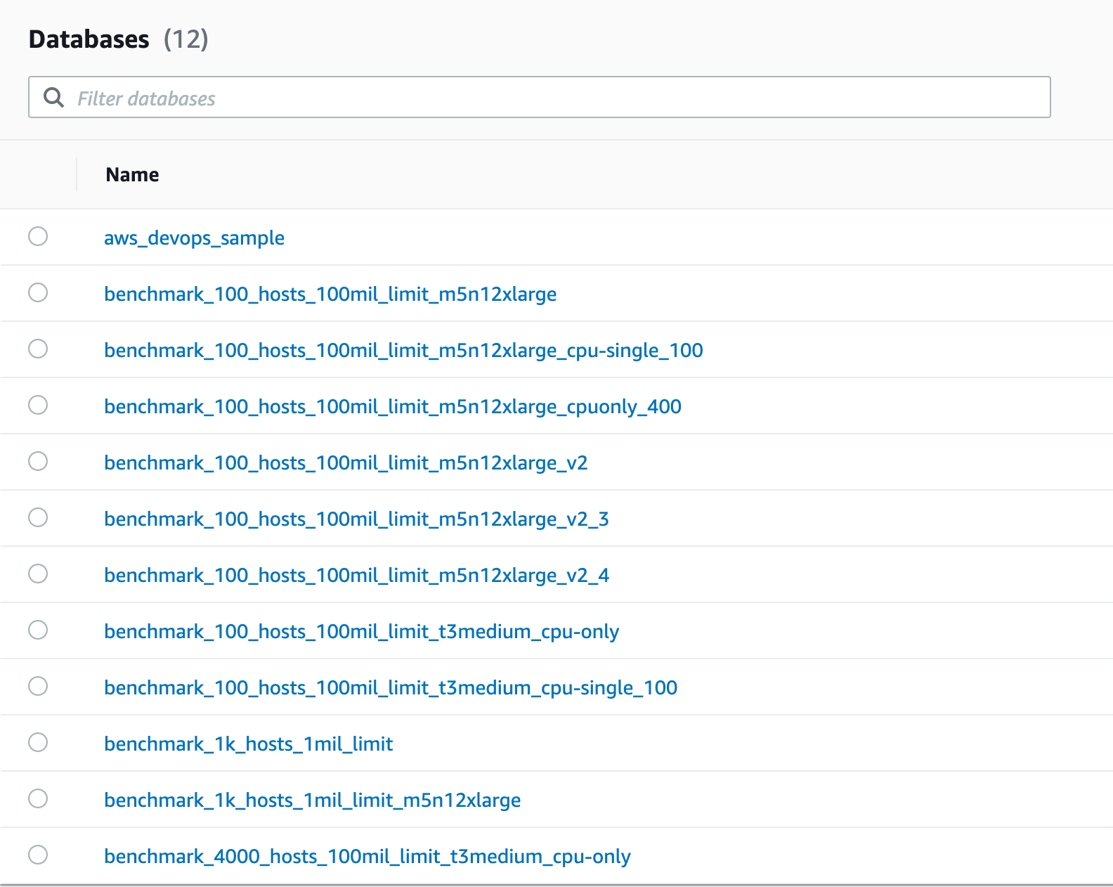 Screenshot of Amazon Timestream UI showing list of databases created during benchmarking process