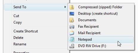 SEND TO MENU-வில் நாம் விரும்பிய Folder/ Application ஐசேர்ப்பது எப்படி   ..??