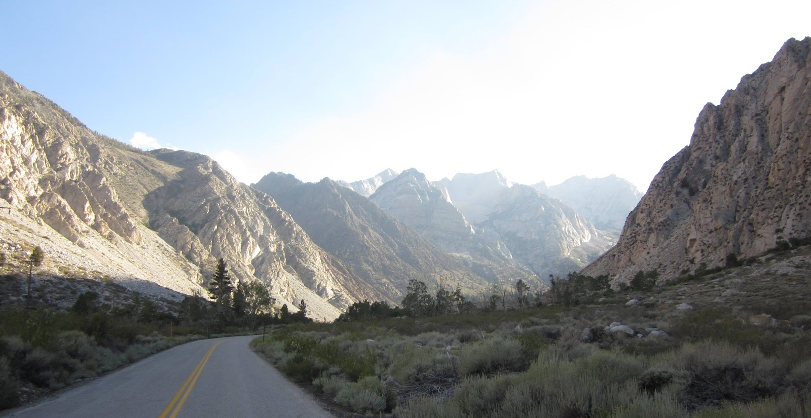 Climbing Pine Creek Road - Owens Valley by bike - view of canyon