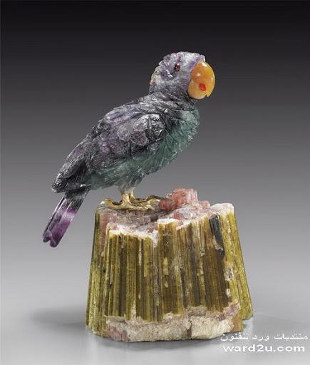 احجار كريمه طيور فى منحوتات