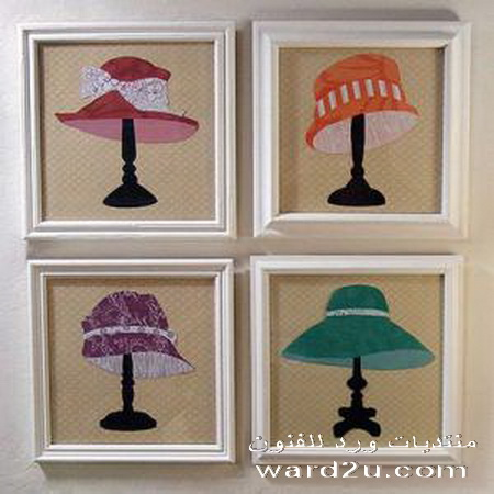 قبعات على اباجورات في لوحات