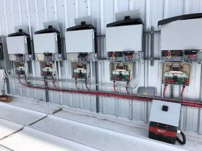 Row of Commercial String Inverters