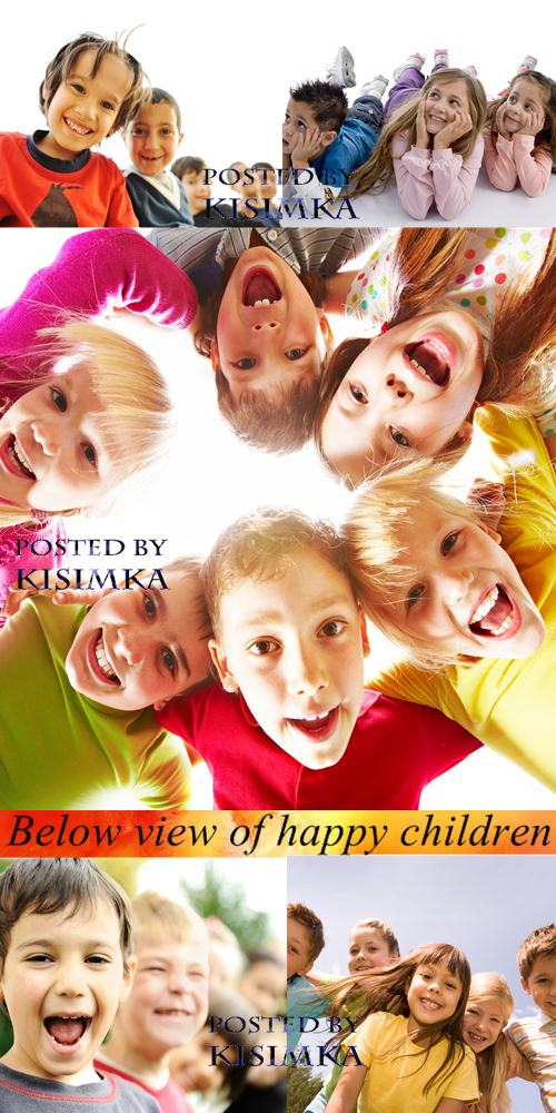 Stock Photo: Below view of happy children