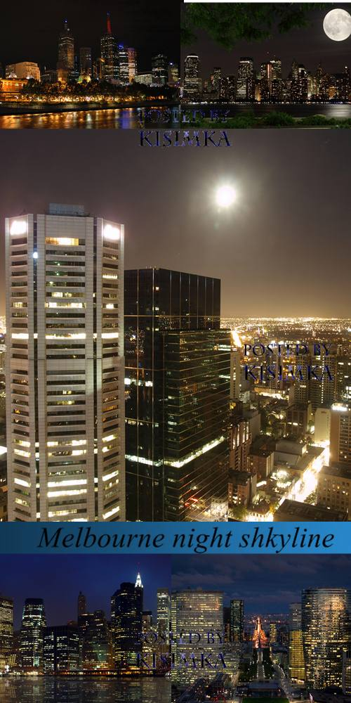 Stock Photo: Melbourne night shkyline