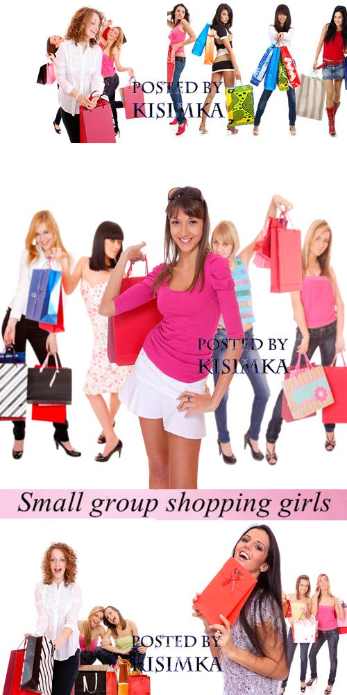 Stock Photo: Small group shopping girl over white background