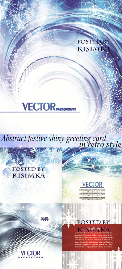 Stock: Abstract festive shiny greeting card in retro style