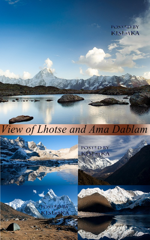 Stock Photo: View of Lhotse and Ama Dablam