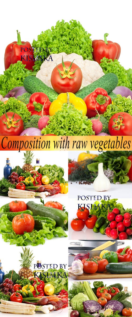 Stock Photo: Composition with raw vegetables