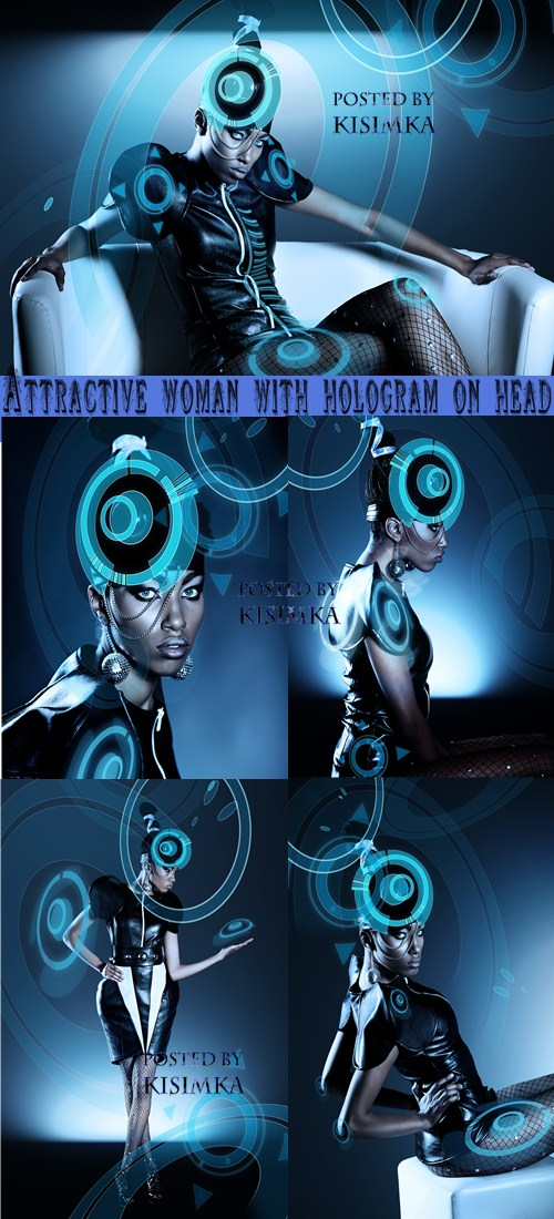 Stock Photo: Attractive woman with hologram on head