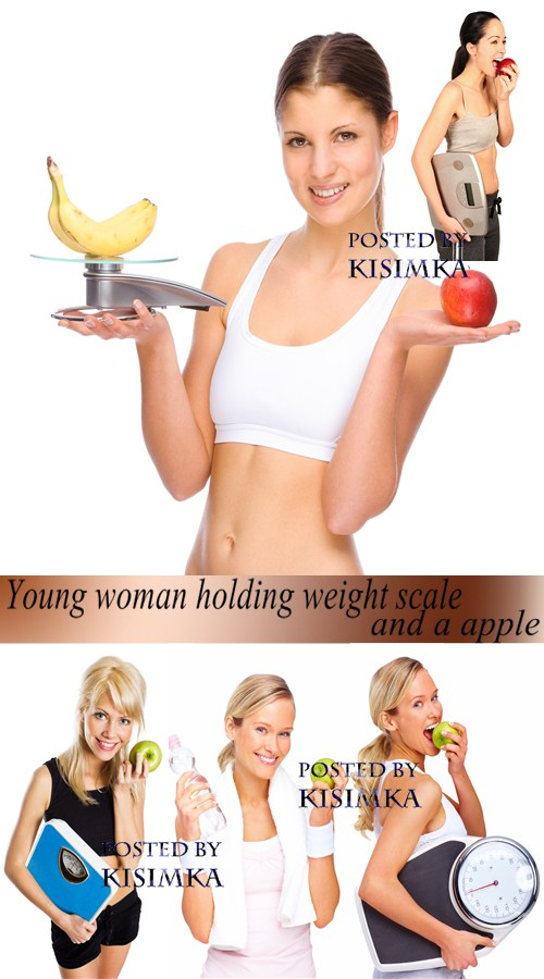Stock Photo: Young woman holding weight scale and a apple