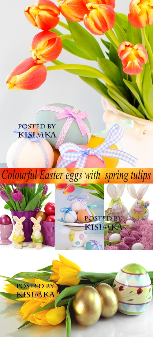Stock Photo: Colourful Easter eggs with spring tulips