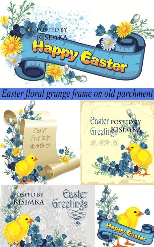 Stock: Easter floral grunge frame on old parchment